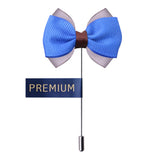 Peluche The Graceful Bow - Blue and Grey Brooch Brass, Satin