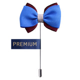 Peluche The Graceful Bow - Blue and Brown Brooch Brass, Satin