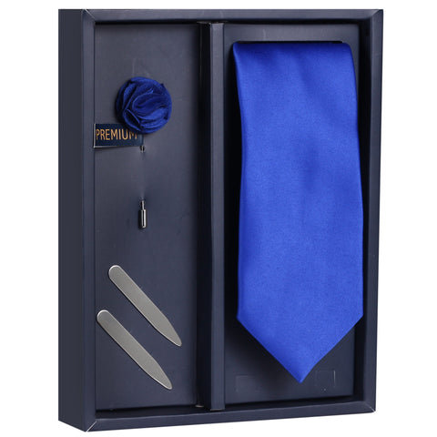 The Classy White Bow Gift Box Includes 1 Neck Tie, 1 Brooch & 1 Pair of Collar Stays for Men | Genuine Branded Product from Peluche.in