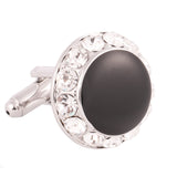 Peluche - Black Beauty - Black, Silver - Cufflinks - Brass, Enamel, Stone