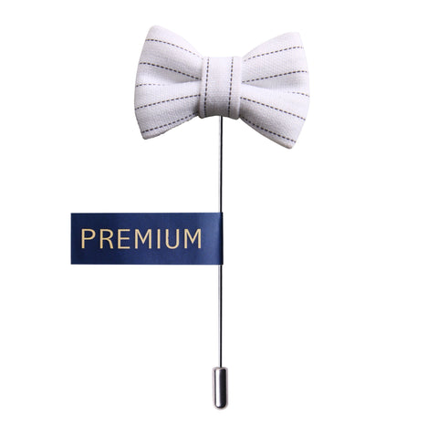 Peluche The Graceful Bow - White and Black Brooch Brass, Cotton