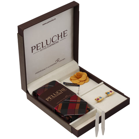 Groovy Gift Box Includes 1 Neck Tie, 1 Brooch, 1 Pair of Cufflinks and 1 Pair of Collar Stays for Men | Genuine Branded Product from Peluche.in