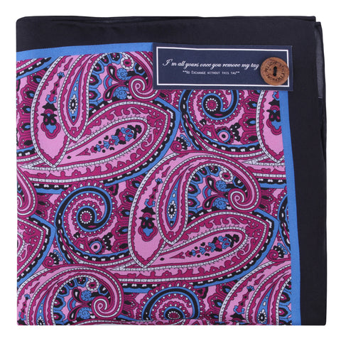 Peluche Silk Pink Paisley - Pocket Square Silk, Pure Silk