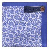 Peluche Silk Blue and White Paisley - Pocket Square Silk, Pure Silk