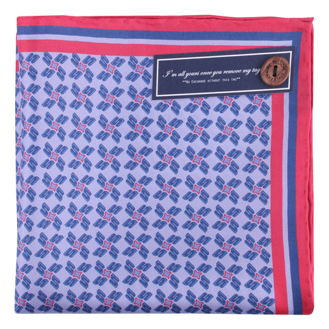 Peluche Silk Shift - Pocket Square - Blue and Red Silk, Pure Silk