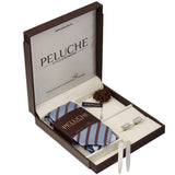 Neat Gift Box Includes 1 Neck Tie, 1 Brooch, 1 Pair of Cufflinks and 1 Pair of Collar Stays for Men | Genuine Branded Product from Peluche.in