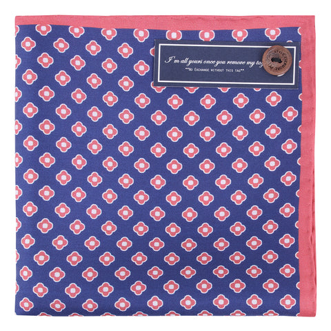 Peluche Silk Shift - Pocket Square - Blue, Red and White Silk, Pure Silk