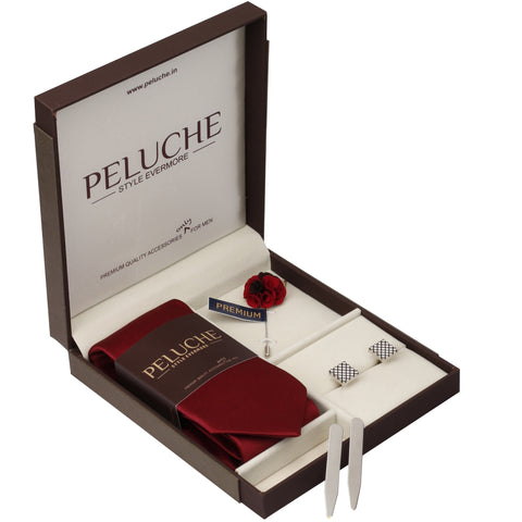 Fabulous Gift Box Includes 1 Neck Tie, 1 Brooch, 1 Pair of Cufflinks and 1 Pair of Collar Stays for Men | Genuine Branded Product from Peluche.in