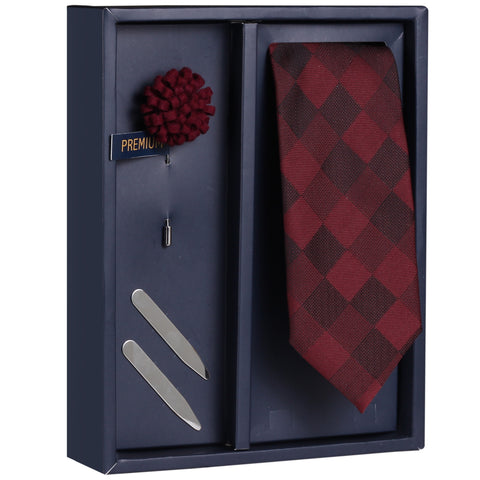 The Nobby Cresendo Gift Box Includes 1 Neck Tie, 1 Brooch & 1 Pair of Collar Stays for Men | Genuine Branded Product from Peluche.in