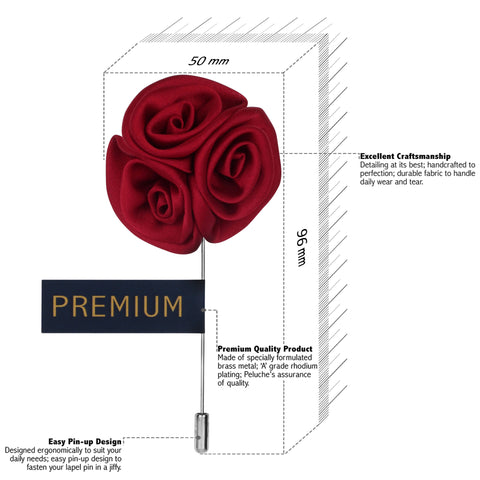 Ranunculus Flower - Maroon Brooch Lapel Pin