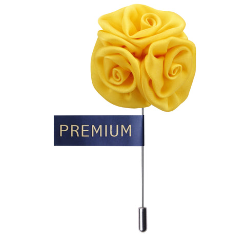 Tri Flower Yellow Colored Brooch / Lapel Pin for Men | Genuine Branded Product from Peluche.in