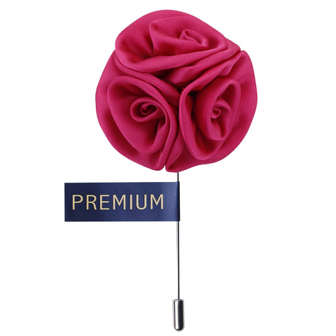 Tri Flower Magenta Colored Brooch / Lapel Pin for Men | Genuine Branded Product from Peluche.in