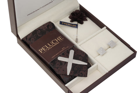 Attractive Gift Box Includes 1 Neck Tie, 1 Brooch, 1 Pair of Cufflinks and 1 Pair of Collar Stays for Men | Genuine Branded Product from Peluche.in