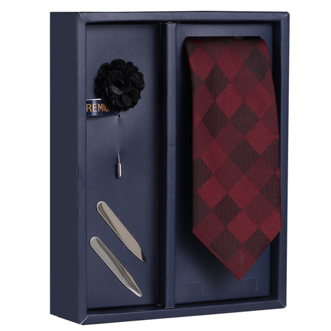 The Graceful Nobby Gift Box Includes 1 Neck Tie, 1 Brooch & 1 Pair of Collar Stays for Men | Genuine Branded Product from Peluche.in
