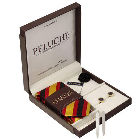 Fetching Gift Box Includes 1 Neck Tie, 1 Brooch, 1 Pair of Cufflinks and 1 Pair of Collar Stays for Men | Genuine Branded Product from Peluche.in