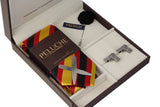 Genial Gun Gift Box Includes 1 Neck Tie, 1 Brooch, 1 Pair of Cufflinks and 1 Pair of Collar Stays for Men | Genuine Branded Product from Peluche.in
