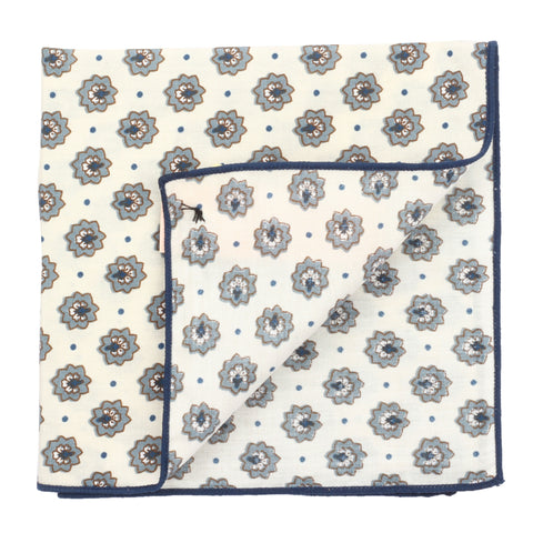 Pretty Flowers Off White and Blue Colored Pocket Square for Men