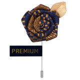 Floral Pentagon - Blue, Golden Brooch Lapel Pin