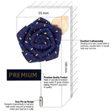 Floral Pentagon - Royal Blue, Blue, Maroon, Golden Brooch Lapel Pin