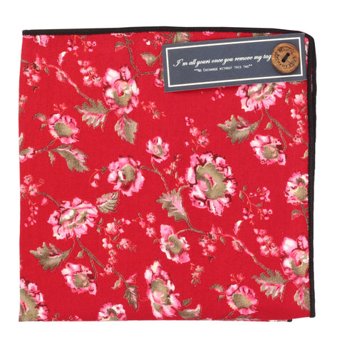 Beautiful Flowers Red and Pink Colored Pocket Square for Men | Genuine Branded Product from Peluche.in