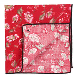 Beautiful Flowers Red and Pink Colored Pocket Square for Men