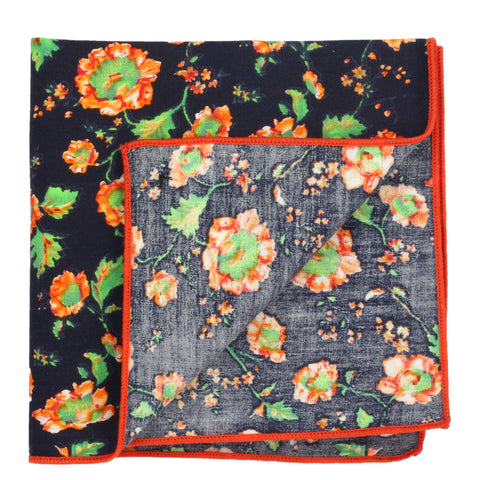 Beautiful Flowers Navy Blue and Orange Colored Pocket Square for Men