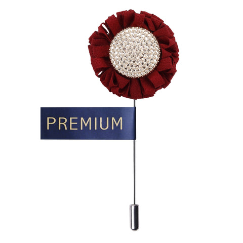 Floral Charm Red & White Colored Brooch / Lapel Pin for Men | Genuine Branded Product from Peluche.in