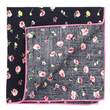 Tiny Flowers Navy Blue and Pink Colored Pocket Square for Men