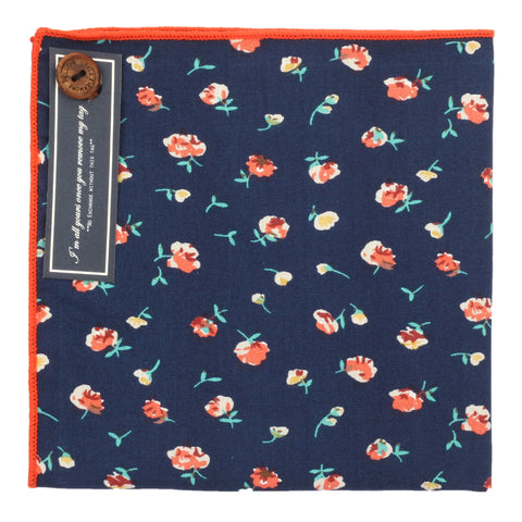 Tiny Flowers Dark Blue and Peach Colored Pocket Square for Men | Genuine Branded Product from Peluche.in
