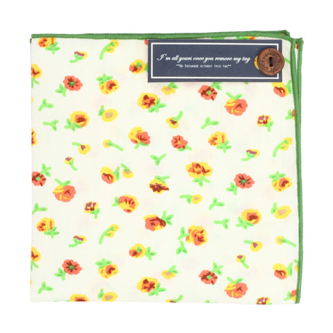 Tiny Flowers Off White and Yellow Colored Pocket Square for Men | Genuine Branded Product from Peluche.in