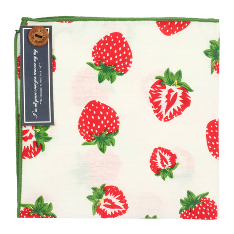 Juicy Strawberries White and Red Colored Pocket Square for Men | Genuine Branded Product from Peluche.in