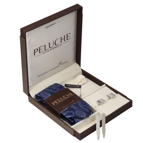 Beguiling Gift Box Includes 1 Neck Tie, 1 Brooch, 1 Pair of Cufflinks and 1 Pair of Collar Stays for Men | Genuine Branded Product from Peluche.in