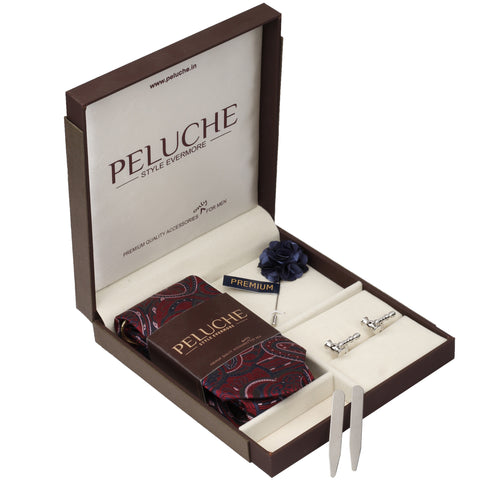 Handy Hammer Gift Box Includes 1 Neck Tie, 1 Brooch, 1 Pair of Cufflinks and 1 Pair of Collar Stays for Men | Genuine Branded Product from Peluche.in