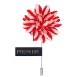 Striped Petals - Red, White Brooch Lapel Pin