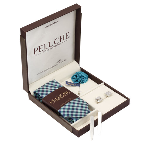 Pleasing Gift Box Includes 1 Neck Tie, 1 Brooch, 1 Pair of Cufflinks and 1 Pair of Collar Stays for Men | Genuine Branded Product from Peluche.in