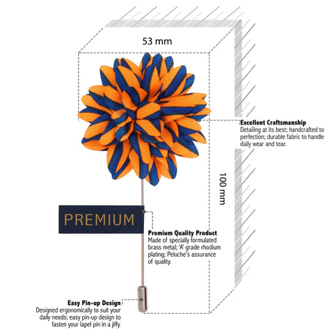 Striped Petals - Orange, Blue Brooch Lapel Pin