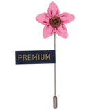 Brown Button Flower - Pink Brooch Lapel Pin