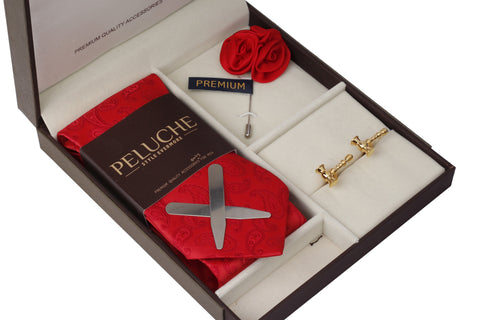 Shining Hammer Gift Box Includes 1 Neck Tie, 1 Brooch, 1 Pair of Cufflinks and 1 Pair of Collar Stays for Men | Genuine Branded Product from Peluche.in