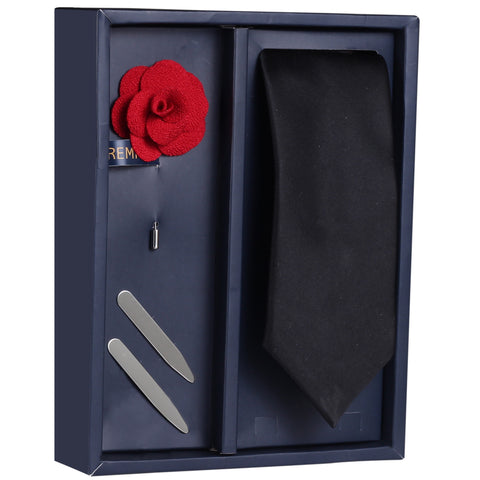 The Refined Brawny Gift Box Includes 1 Neck Tie, 1 Brooch & 1 Pair of Collar Stays for Men | Genuine Branded Product from Peluche.in