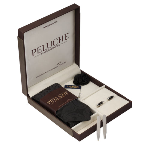Polished Pen Gift Box Includes 1 Neck Tie, 1 Brooch, 1 Pair of Cufflinks and 1 Pair of Collar Stays for Men | Genuine Branded Product from Peluche.in
