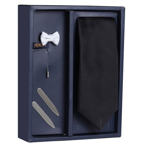 The Beautiful Flower Gift Box Includes 1 Neck Tie, 1 Brooch & 1 Pair of Collar Stays for Men | Genuine Branded Product from Peluche.in