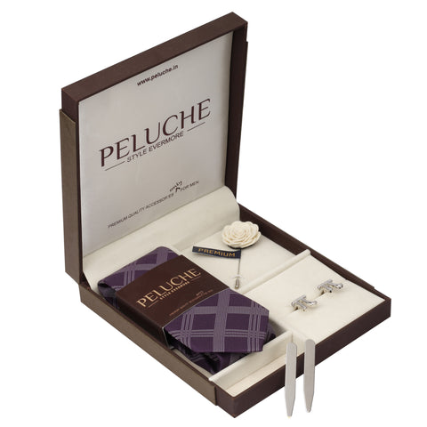 Numerical Pi Gift Box Includes 1 Neck Tie, 1 Brooch, 1 Pair of Cufflinks and 1 Pair of Collar Stays for Men | Genuine Branded Product from Peluche.in