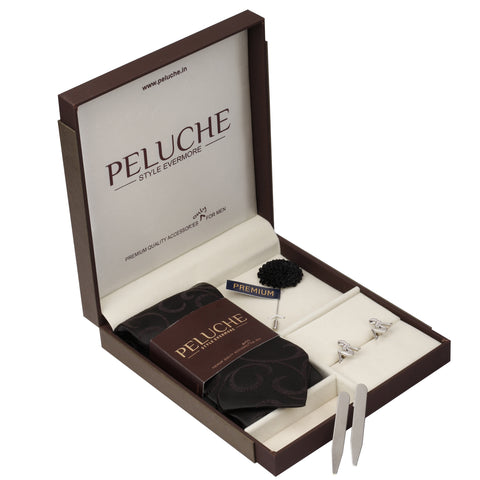 Diva Gift Box Includes 1 Neck Tie, 1 Brooch, 1 Pair of Cufflinks and 1 Pair of Collar Stays for Men | Genuine Branded Product from Peluche.in