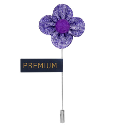 The Four Petal Checkerd Flower - Lavander Brooch Lapel Pin