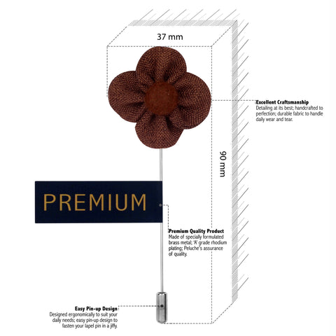 The Four Petal Classic Flower - Brown Brooch Lapel Pin