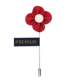 The Four Petal Classic Flower - Red, White Brooch Lapel Pin