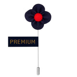 The Four Petal Classic Flower - Royal Blue, Red Brooch Lapel Pin