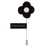 The Four Petal Classic Flower - Black, White Brooch Lapel Pin