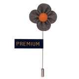 The Four Petal Classic Flower - Grey, Brown Brooch Lapel Pin