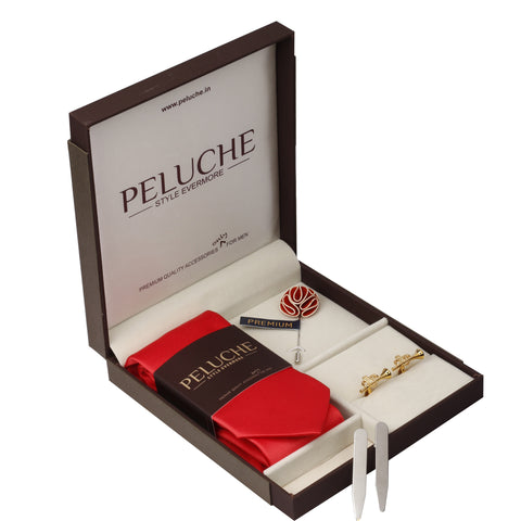 Trendy Trumpet Gift Box Includes 1 Neck Tie, 1 Brooch, 1 Pair of Cufflinks and 1 Pair of Collar Stays for Men | Genuine Branded Product from Peluche.in